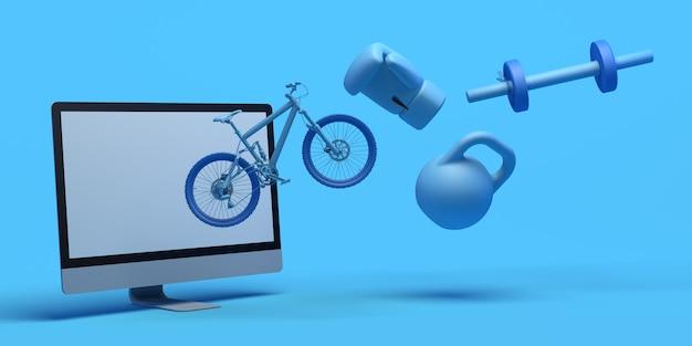 Conceito de esporte online com computador bicicleta luva de boxe haltere app ilustração 3d copiar espaço