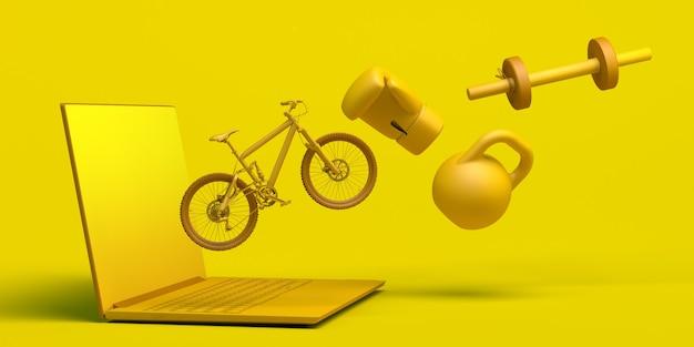 Conceito de esporte online com laptop bicicleta luva de boxe haltere app ilustração 3d copiar espaço