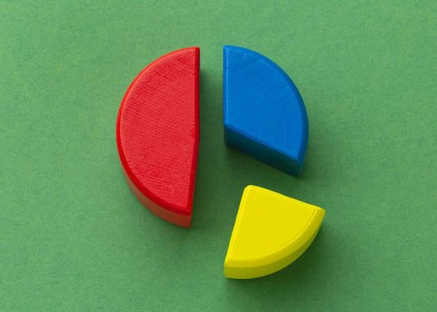 Conceito de estatísticas com vista superior do gráfico de pizza de madeira