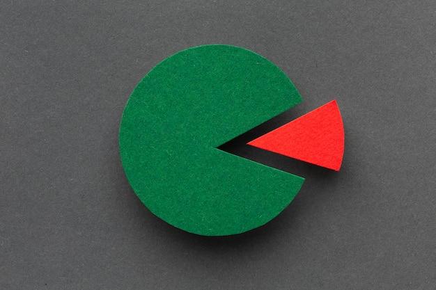 Conceito de estatísticas com vista superior do gráfico de pizza