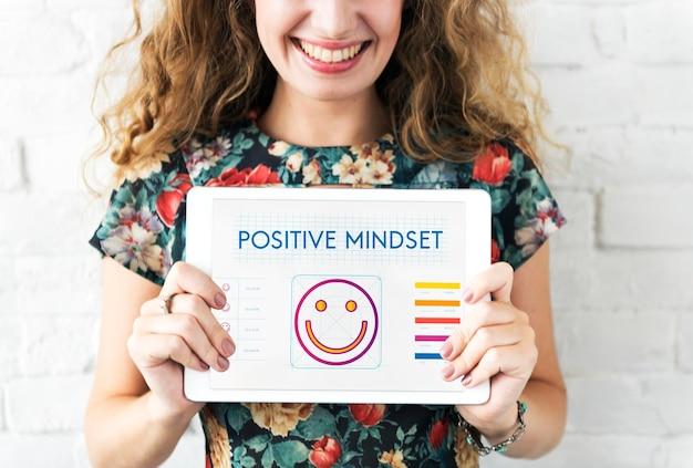 Conceito de estilo de vida de felicidade e pensamento positivo