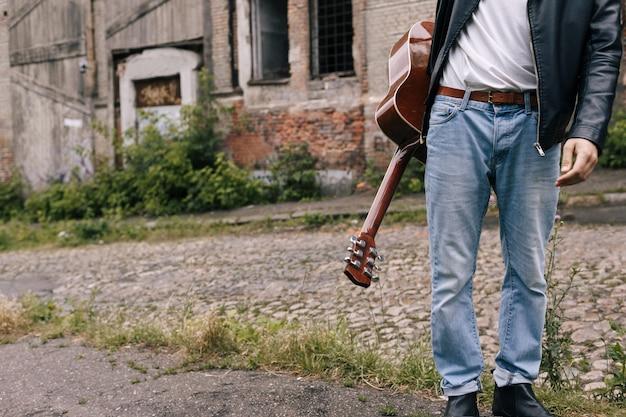 Conceito de estilo de vida de músico guitarrista artista artista