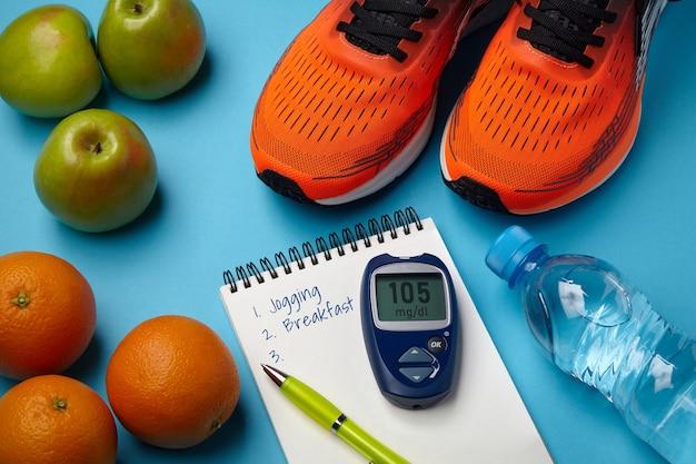 Conceito de estilo de vida saudável para manter os níveis normais de glicose no sangue. resistência a insulina. perda de peso