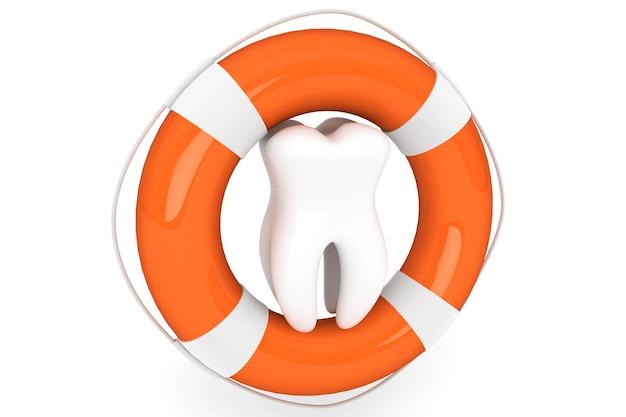 Conceito de estomatologia. boia salva-vidas e dente em um fundo branco