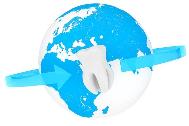 Conceito de estomatologia do mundo. dente em close up extremo com globo em um fundo branco