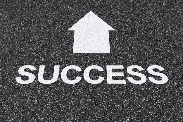 Conceito de estrada para o sucesso com texto de sucesso renderizado em 3d na estrada de asfalto