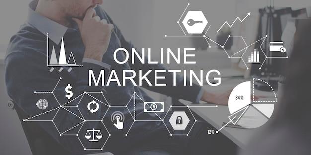 Conceito de estratégia de branding de publicidade de marketing online