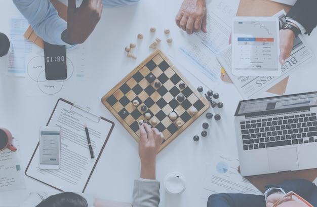 Conceito de estratégia de negócio de jogo de xadrez