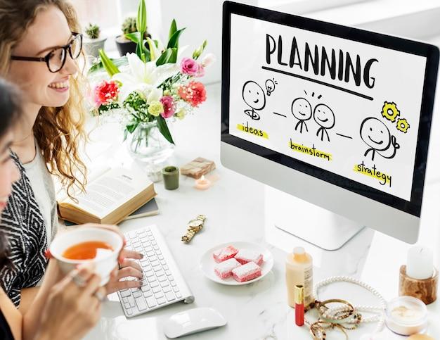 Conceito de estratégia de processo de idéias de negócios