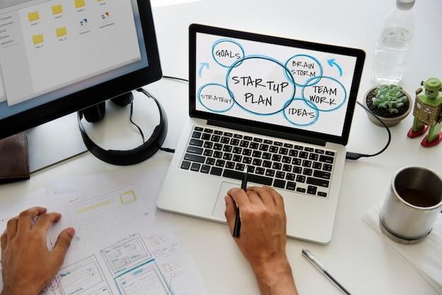 Conceito de estratégia de trabalho em equipe de negócios iniciais