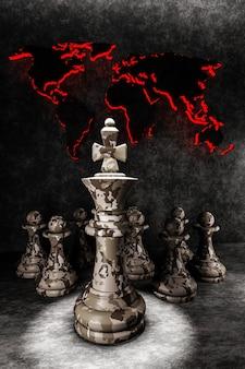 Conceito de estratégia militar. peças de xadrez rei e peões camuflados no fundo do mapa-múndi. ilustração 3d