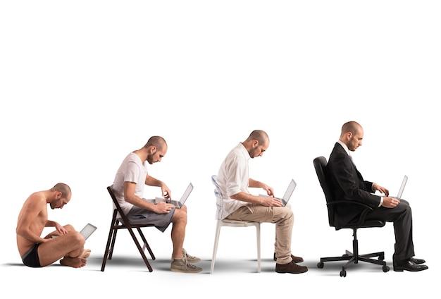 Conceito de evolução e sucesso de um empresário