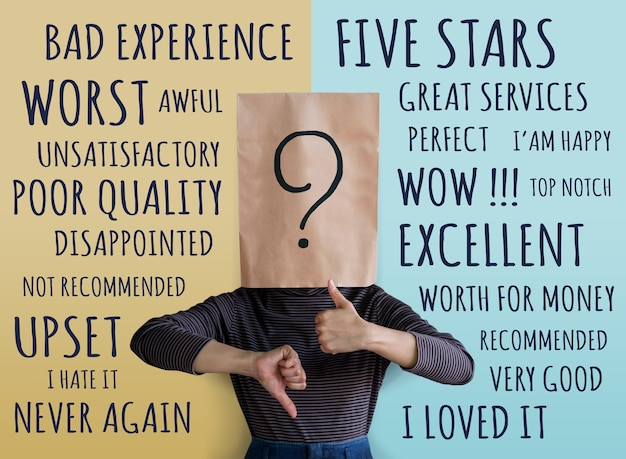 Conceito de experiência do cliente. mulher do cliente com ponto de interrogação