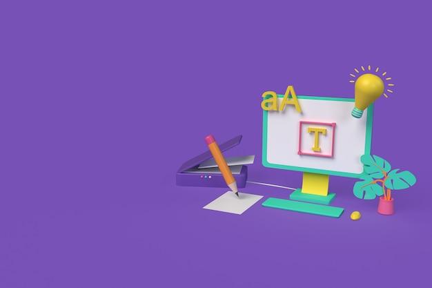 Conceito de fabricante de fontes. trabalhador autonomo. ilustração de renderização 3d