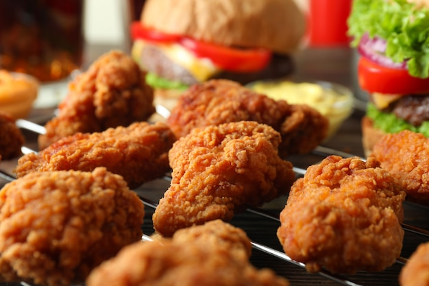 Conceito de fast food saboroso, close-up