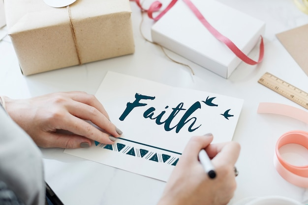 Conceito de fé, fé, esperança, amor
