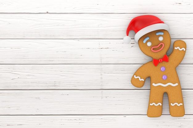 Conceito de feliz ano novo. biscoito de homem de gengibre no chapéu de papai noel em uma mesa de madeira. renderização 3d
