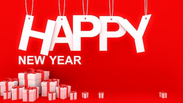 Conceito de feliz ano novo com papel cortado em cordas e muitos e caixas de presente decorativas brancas com laços e fitas vermelhas
