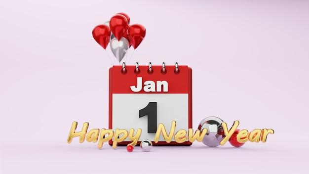 Conceito de feliz ano novo, renderização em 3d