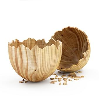 Conceito de feliz páscoa. ovo de madeira grande quebrado vazio isolado no fundo branco. renderização 3d