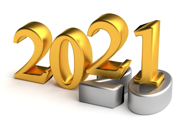 Conceito de feriado de ano novo o número da cor está em cinza