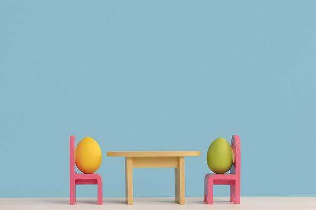 Conceito de férias da páscoa com vida de ovos bonitos. emoções e sentimentos diferentes. ovos de casal adorável sentados em cadeiras.