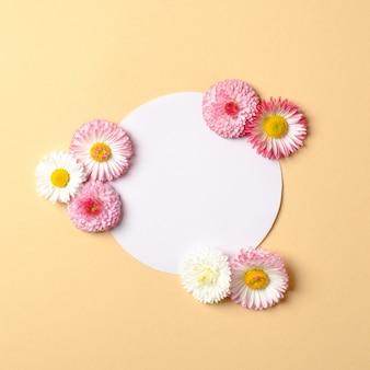 Conceito de férias de primavera. layout criativo feito de flores coloridas e cartão de papel em forma de círculo em branco em pastel