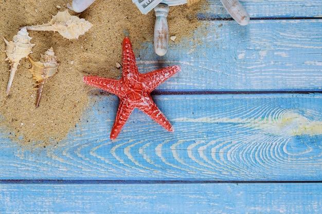 Conceito de férias de verão, conchas, estrelas do mar na areia da praia da nota de dólar