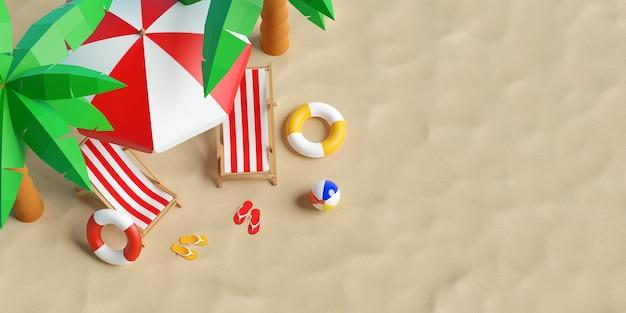 Conceito de férias de verão, vista superior de uma praia de verão com guarda-sol, cadeiras e acessórios, fundo de ilustração 3d