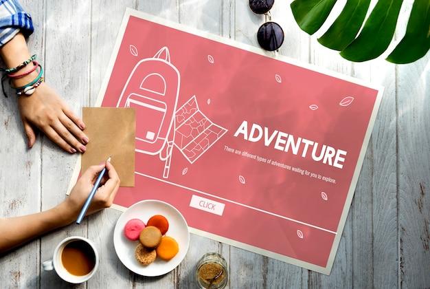 Conceito de férias, viagem de férias, aventura