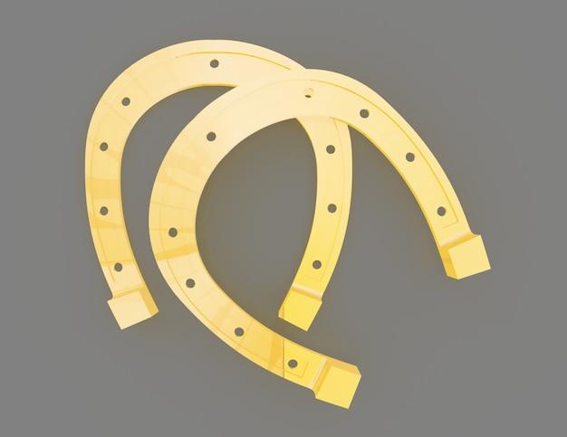 Conceito de ferradura de ouro. ilustração renderizada 3d