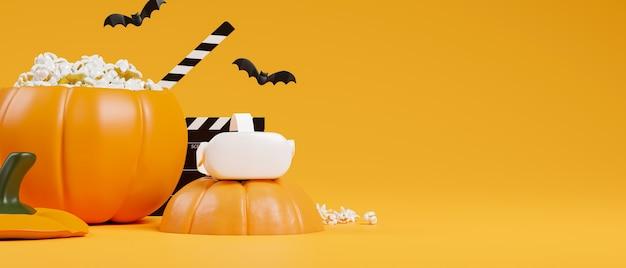 Conceito de festa de filme de halloween realidade virtual fone de ouvido de abóbora balde de pipoca fundo laranja