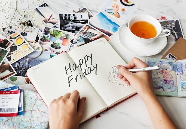 Conceito de fim de semana feliz e divertido