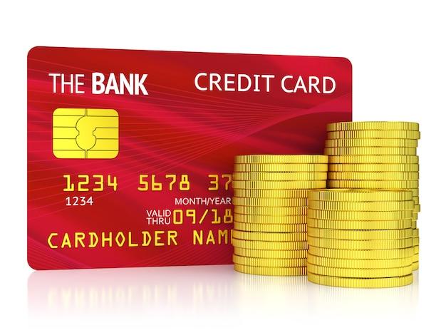 Conceito de finanças, banca e riqueza. cartão de crédito de plástico vermelho e pilha de moedas de ouro isoladas