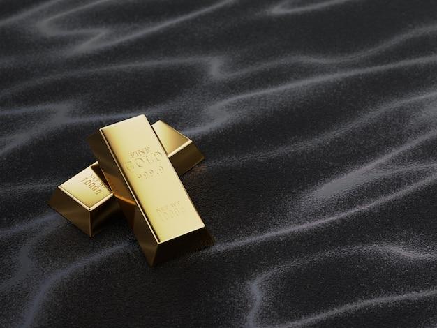 Conceito de finanças com barras de ouro sobre o valor do ouro, com investimentos, investimentos, poupança e sucesso financeiro.