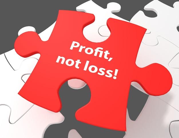 Conceito de finanças: lucro, não perda! no fundo branco das peças do quebra-cabeça, renderização em 3d