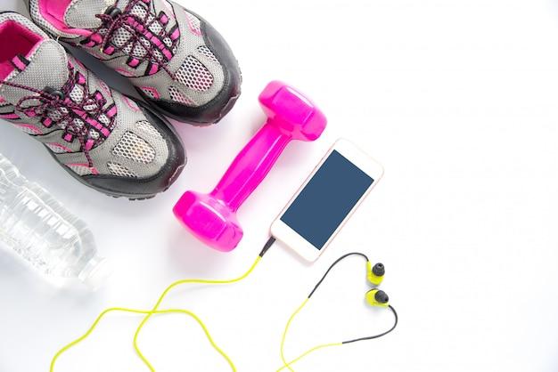 Conceito de fitness com comida saudável e exercício