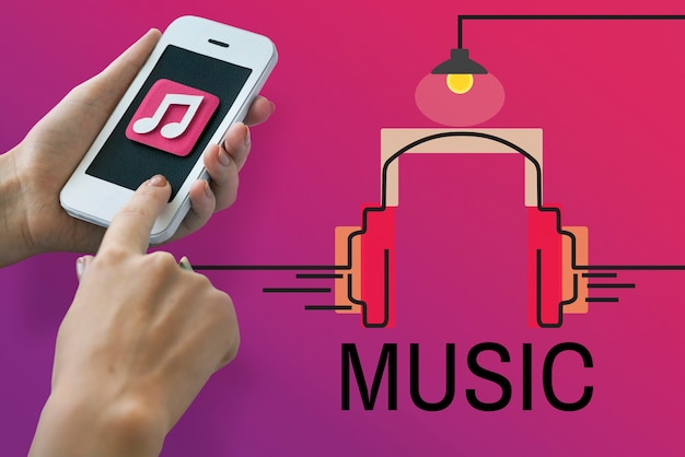 Conceito de fone de ouvido de música áudio multimídia