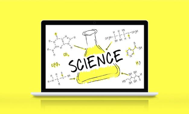 Conceito de fórmula química de laboratório de experimentos científicos