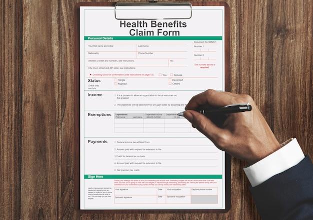 Conceito de formulário de benefícios para reivindicação de benefícios de saúde