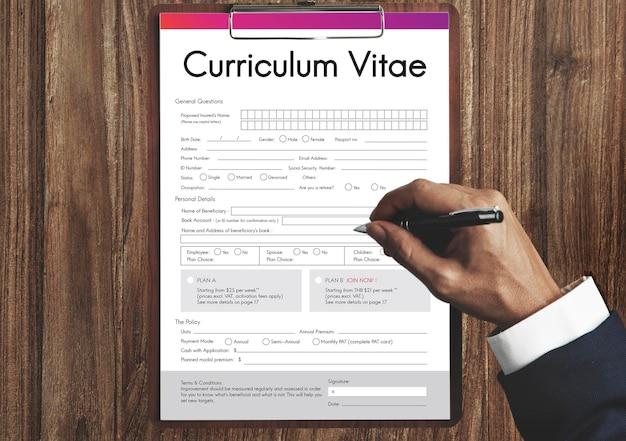 Conceito de formulário de biografia de curriculum vitae