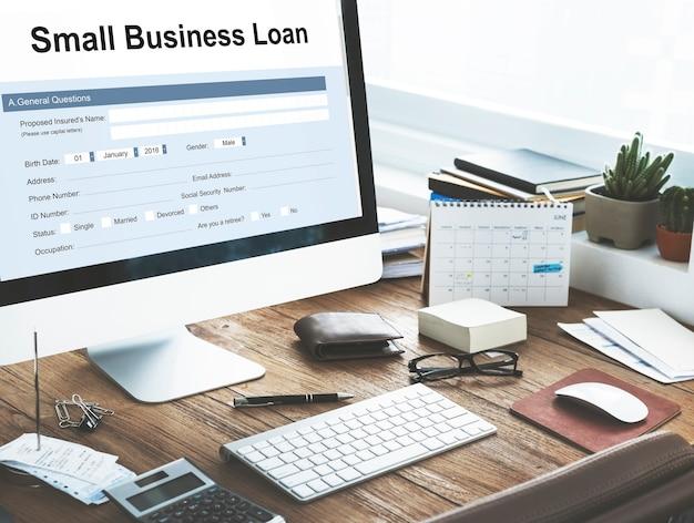 Conceito de formulário de empréstimo para pequenas empresas