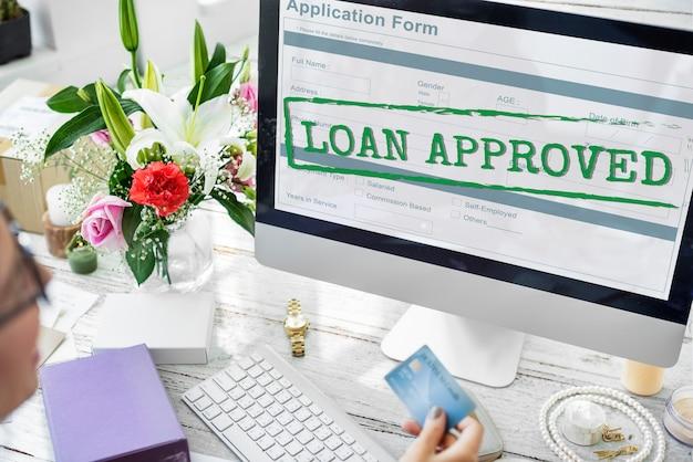 Conceito de formulário de inscrição aprovado para empréstimo