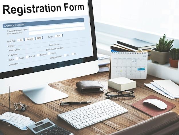 Conceito de formulário de inscrição em papel