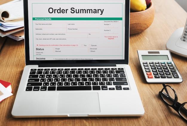 Conceito de formulário de pedido de compra de recibo de resumo do pedido