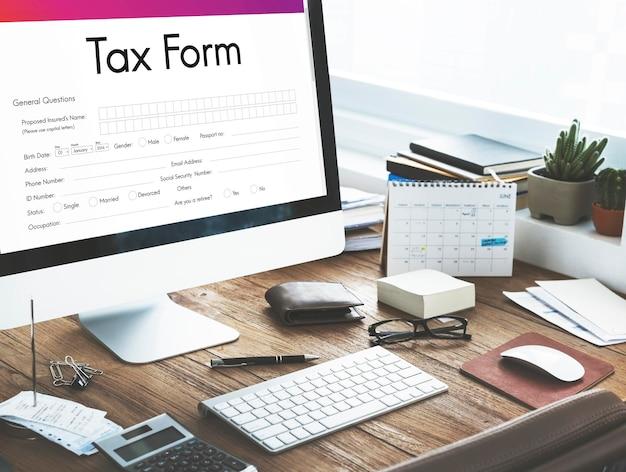 Conceito de formulário de reivindicação de créditos fiscais