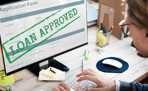 Conceito de formulário de solicitação de empréstimo aprovado e aceito