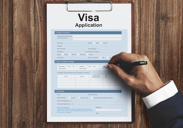 Conceito de formulário de solicitação de visto de viagem