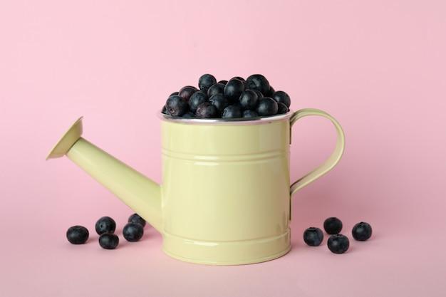 Conceito de fruta fresca com mirtilo na superfície rosa
