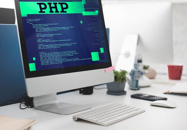 Conceito de função digital de dados css de código de php para computador